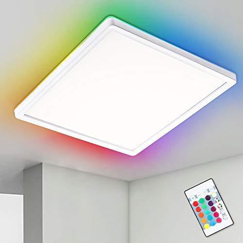 RGB LED Deckenleuchte Dimmbar mit Fernbedienung, Oraymin 22W 2400LM LED Deckenlampe RGB Farbwechsel, Hintergrundbeleuchtung und 4000K Neutralweiß, IP44 Schlafzimmerlampe, Küchenlampe, 42 x 42CM