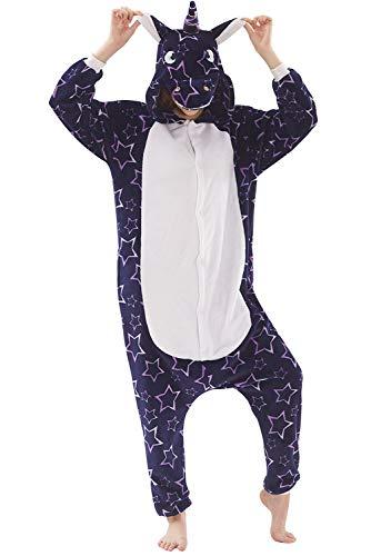 Pijama Unicornio Unisexo Adulto Cartoon Disfraz Animales Mujer Hombre Mono Fantasia Traje Carnaval Animal Halloween Cosplay Costume Kigurumi Unicorn Onesie con Capucha Jumpsuit Invierno Ropa de Dormir