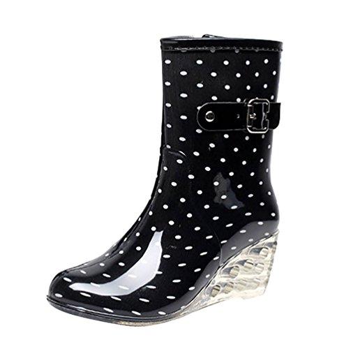 LvRao Frauen Absatzschuhe Stiefel mit Reißverschluss wasserdichte Gartenschuhe | Damen Punkt-Muster Regen Boots Wellies Gummistiefeln Schwarz-Weiss Etikett 38, EU 38