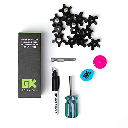 Golfkicks Golf Traction Kit for Sneakers with DIY Golf Spikes - Add Golf Cleats to Any Shoe, 20 Count - As Seen On Shark Tank Shadow (Black)