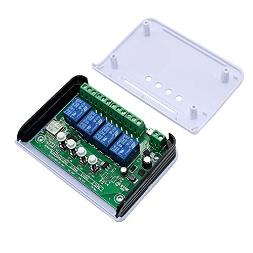 ZRYYD 7-32V 85-250V 10A Relais WiFi Smart Home Switch Module Unterstützung Inching Selbsthemmende Verriegelungsarbeiten mit Ewelink-App und RF-Fernbedienung (Bundle : 4CH DC 7 32V RF)