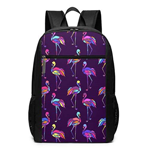 TRFashion Rucksack Colorful Flamingos Pattern 17 Inch Laptop Computer Backpack Backpack Multi-Purpose Adjustable Backpack Schoolbag Book Bag for Men Women Black