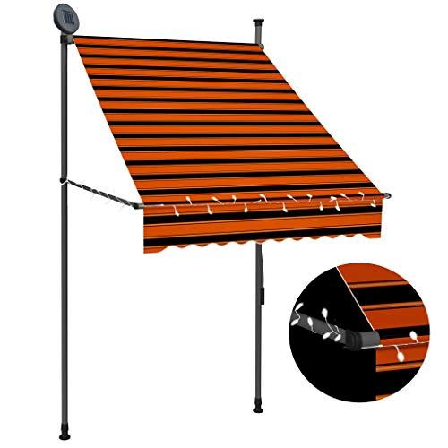 vidaXL Markise Einziehbar Handbetrieben mit LED Wasserabweisend Klemmmarkise Balkonmarkise Sonnenschutz Terrasse Balkon Garten 100cm Orange Braun