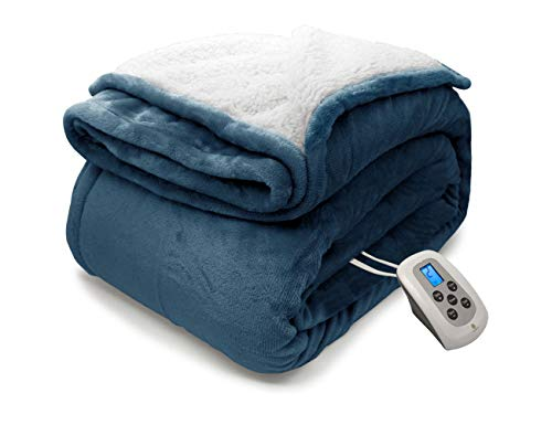 Marquess Electric Blanket MicroPlush Sherpa and Cozy Flannel Washable Comfortable with 4 Heat...