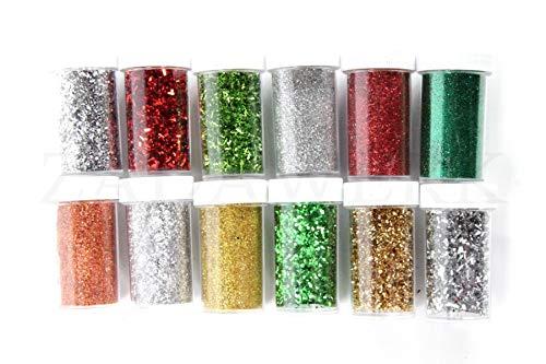 ZADAWERK® Glitzerpulver - Weihnachten - 12 Farben - Streudose - Bastel-Set