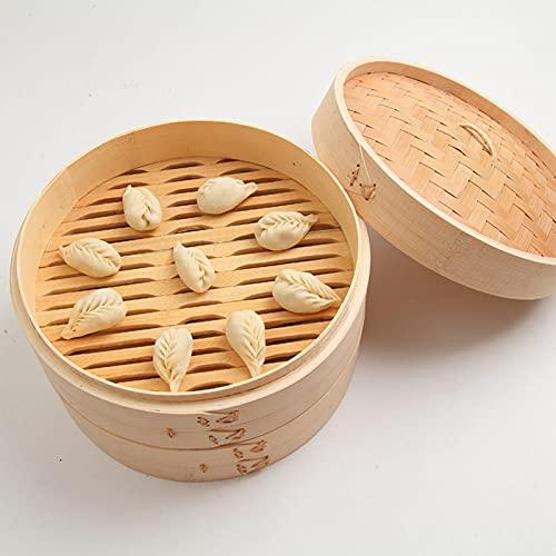 FUFRE Vaporiera di bambù Vaporiera Naturale con Coperchio, Vaporiera Cinese in bambù per Riso, Verdure, Carne, Pesce, Colore Naturale (22 cm)