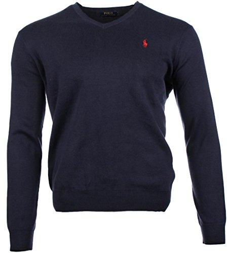 Ralph Lauren Pima Cotton - Pullover da uomo con scollo a V blu navy S