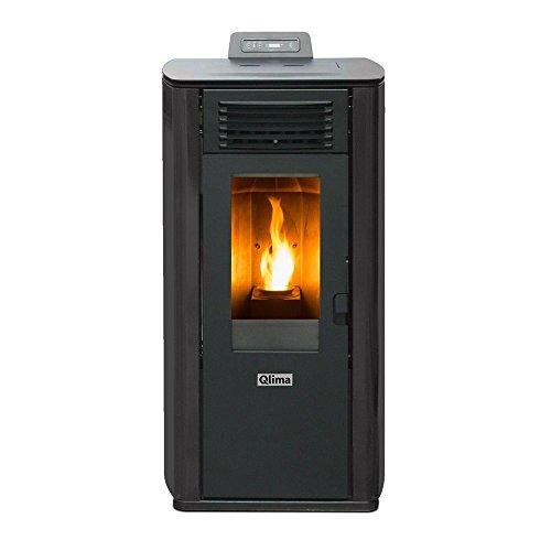 Qlima Pelletkachel 8,24kW grijs + afstandsbediening verwarming huis ELEONORA 74