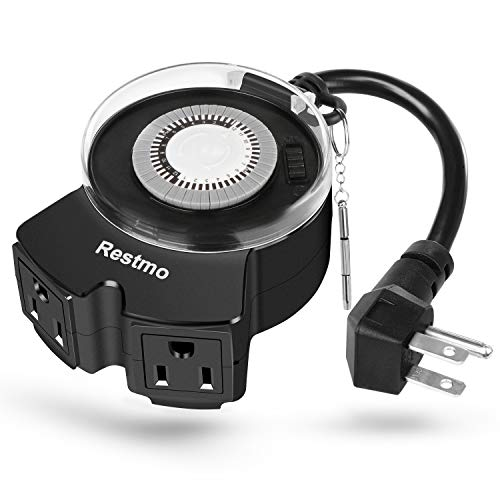 Restmo 24-Hour Mechanical Outdoor Timer, Waterproof Plug-in Timer with Dual Wide-Spaced Outlets, Programmable, Heavy Duty, Ideal for Halloween and Christmas Holiday Decoration Lights, ETL Listed