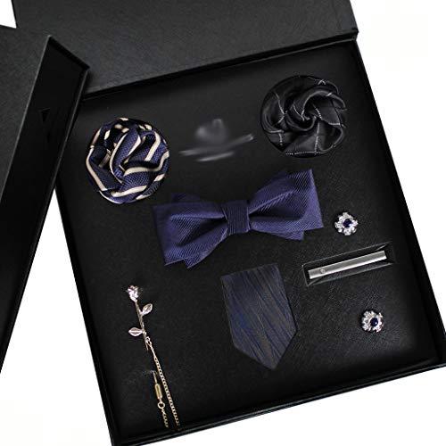 WYBFZTT-188 Juego de Corbatas para Hombres Silk Butterfly Tie Hanky Gemelos Pantalones Gemelos Clips de Corbata y Solapa Set Floral Bowtie (Color : C)