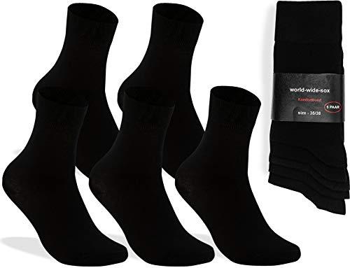 world wide sox | 5 Paar schwarze Premium Socken aus Baumwolle | 35-38