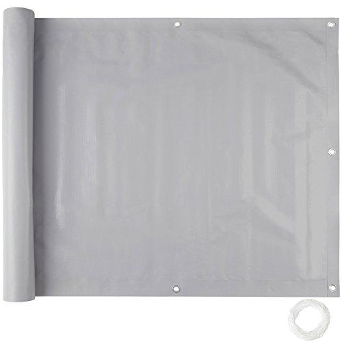 TecTake Balkonbespannung Sichtschutz Windschutz Sichtblende | Witterungsbeständig Größen (Grau 0,9 x 6 m | No. 402707)