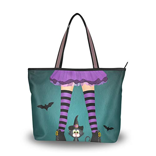 Ahomy Women Large Tote Top Handle Halloween Black Cat Witch Legs Canvas Shoulder Bag Shopping Bag