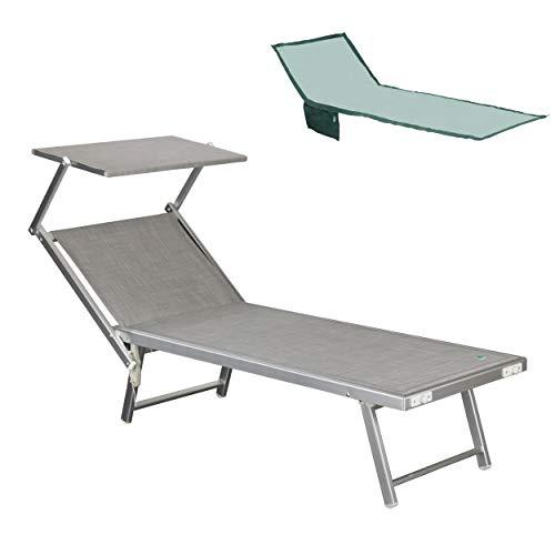 Totò Piccinni Salento Lettino Prendisole Pieghevole in Alluminio con TETTUCCIO Mare Spiaggia Piscina Giardino (Grigio)