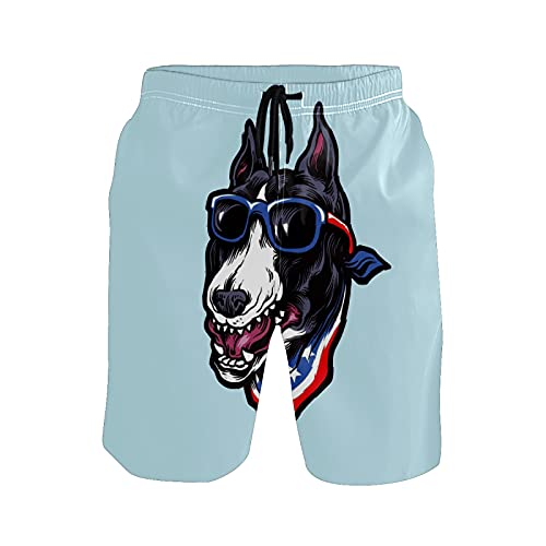 Mielpdaz Traje de baño para hombre Terrier con gafas de sol y pantalones cortos para la playa, 1 color, S