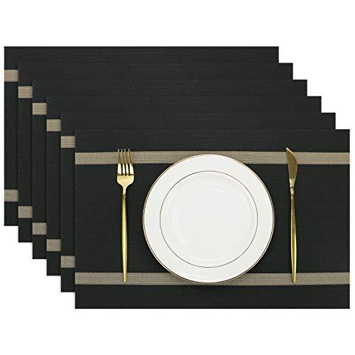 Olrla Tischsets 6er Set, 30x45cm waschbar esstisch matten, golddraht dreher Woven PVC tischset wegrutschen dauerhaft hitzebeständige küchen mats (schwarz, 6)