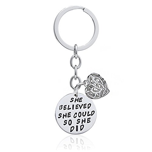Family Friend Gift Silver She Believed She Could So She Did Double Pendant Key Chain Ring for Women Girl