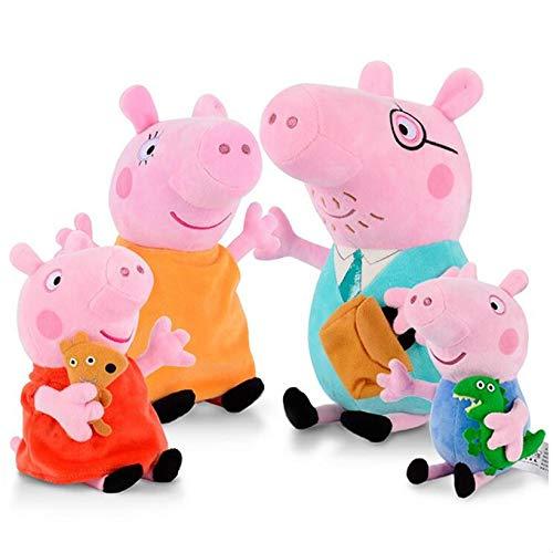 aolongwl Peluche 4 Pezzi/Set 19-30 Cm Confezione Famiglia Peppa Pig George papà Mamma Giocattoli di Peluche Bambola di Pezza Pelucia Regali per Bambini