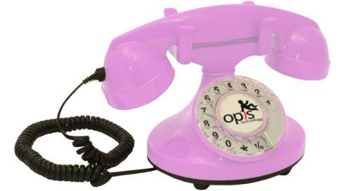 OPIS FunkyFon Cable: Teléfono telefono Fijo Retro con Disco de marcar en el Estilo sinuoso de la década de 1920, con Timbre electrónico Moderno (Rosa)