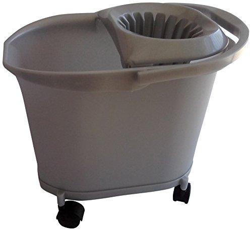 Denox Selecta - Cubo fregasuelos con ruedas, 16 l, color gris plata