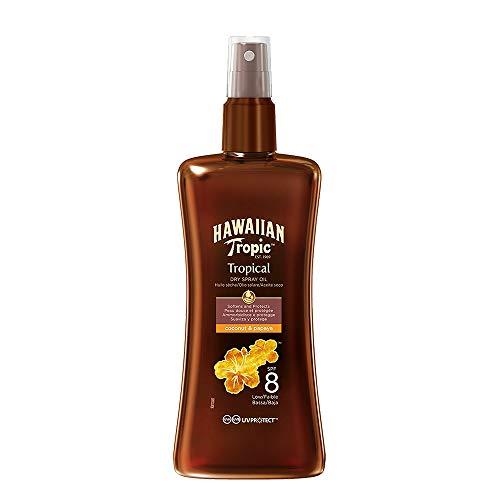 Hawaiian Tropic Protective Dry Spray Oil SPF 8 - Aceite Seco Bronceador con Protección Baja,...