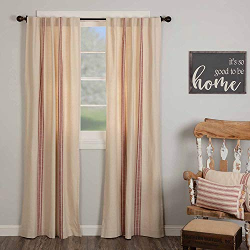 """Market Place Red Grain Sack Stripe Panel Curtains, 84"""" Long, Set of 2 Panels, Farmhouse Style Drape Curtains in Brick Red & Natural Cream Stripes"""