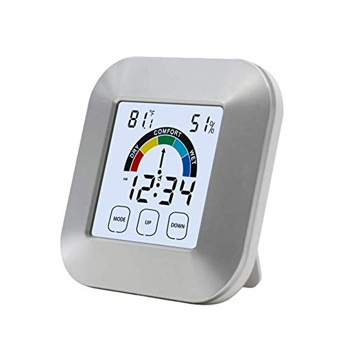 Hygrometer-Feuchtigkeits-Monitor Indoor Thermometer Hygrometer Timer Clock Smart-Digital-Temperatur-Feuchtigkeits-Prüfvorrichtung-Hintergrundbeleuchtung mit Touch-Screen-Tester Messgeräte for Start dm