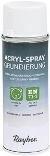 Rayher Hobby 34147000 Universalgrundierung, Acryl Spray, grau, Haftgrundspray, für innen und außen, hohe Deckkraft, umweltbewusst, Sprühdose 200 ml - inkl. Sicherheits-Schutz-Verschluss