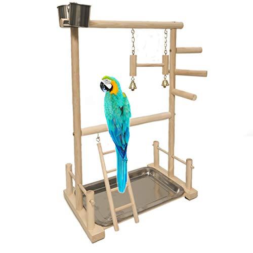 NAKLULU Zwei Ebenen Papageien Spielplatz Vogel Spielplatz Papagei Sitzstange Playpen Ladder with Feeder Cups Toy Käfig-Dekoration
