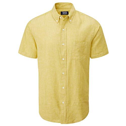 Charles Wilson Camicia di Lino Uomo Maniche Corte (L, Butterscotch (0920))