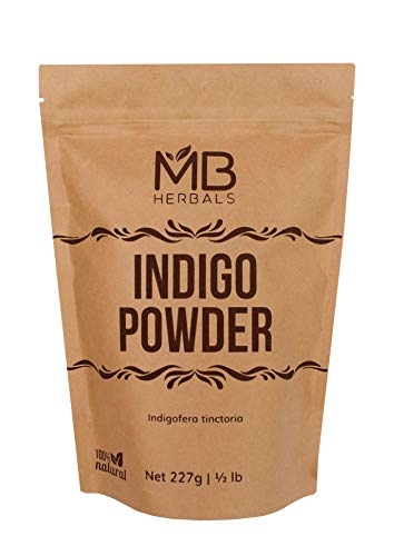 MB Herbals Pure Indigo Powder 227g | Half Pound | 8 oz | 100% Pure Indigofera tinctoria Leaf Powder | Blue-Black Hair or Full Refund (Pls Read Our Instructions)