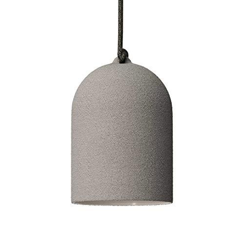 creative cables Lámpara de suspensión Urban con Pantalla Mini Campana XS de cerámica - Fabricado en Italia - Si, Efecto Cemento - Blanco