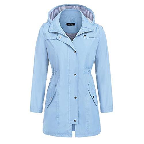 Wasserdichter Mantel Damen Winter Solid Outdoor Hoodie Regenmantel mit Kapuze Winddichte Oberteile