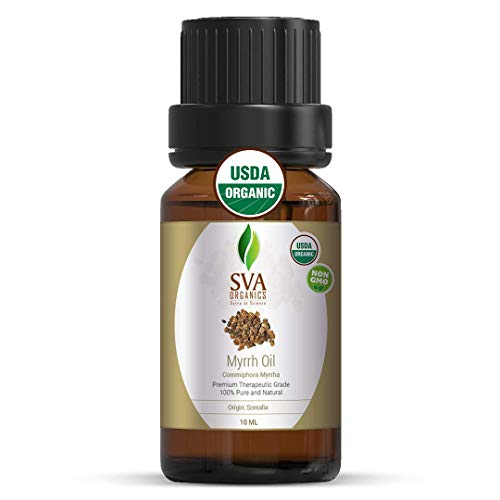 SVA Organics Myrrh Essential Oil Organic 10 ml 100% Pure USDA Certified Natural Premium Therapeutic Grade for Skin, Young Glowing Face, Hair, Personal Care, and Aromatherapy Massage