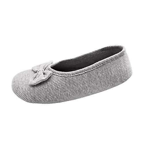 Xiedeai Chaussures Femme Plates Ballerines - Enceinte Maternel Coton Doux Chaussons Tricoter Talon Extensible Poids Léger Chaussures Maison Gris (2) 38 EU