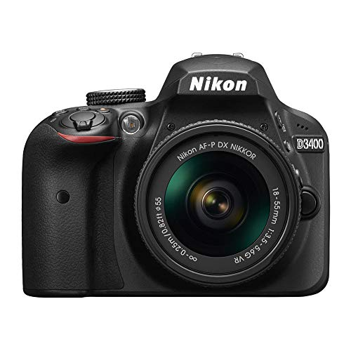 Nikon D3400 DX-Format 24.2MP DSLR Camera with 18-55mm Lens (Black) with 32GB SD Card and Accessory Bundle