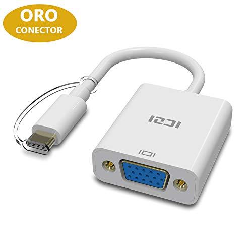 ICZI Adaptador USB Tipo C a VGA 1080P, Conversor USB C a VGA con Conta