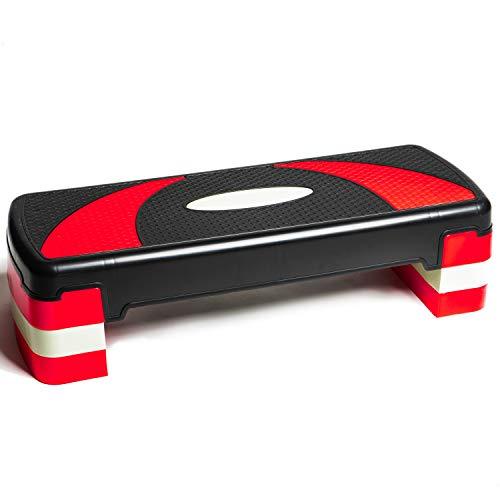 PRISP Höhenverstellbarer Stepper mit 3 Stufen (10/15/20 cm), 78 x 28 cm Steppbrett für Aerobic und Fitness-Workouts, kompaktes Trainingsgerät für Zuhause, Step Brett