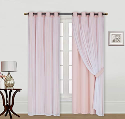 ECM. Catarina Layered Solid Blackout and Sheer Window Curtain Panel Pair with Grommet Top 2 Layered (Rose Blush, 2PC 52' x 96')