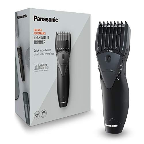 Panasonic ER-GB36-K503 - Cortapelos para Barba con Peine-Guía (Recargable, Acero Inoxidable, Lavable, Batería Larga Duración, 12 Longitudes de Corte, Diseño Ergonómico) Negro