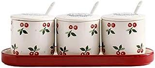 SPNEC Pot à épices en céramique Sel Poivre Boîte de Rangement Conteneur avec Plateau cuillère Rack Accessoires de Cuisine ...