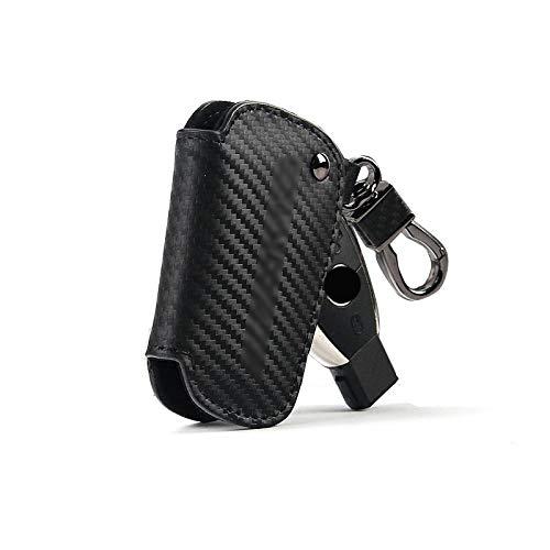 WRQWRQ Kohlefaser Leder Auto Key Cover Case Shell für Mercedes Benz A CLA GLA CES AMG Auto Key Case Manschettenknöpfe aus Zinklegierung, Schwarz