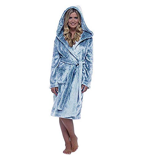 Dpliu Bathrobe Ladies Plush Nightgown, Super Soft Hooded Cardigan with Belt, Thick Long Bathrobe with Pockets, Warm Winter Home Wear,Light Blue,5XL