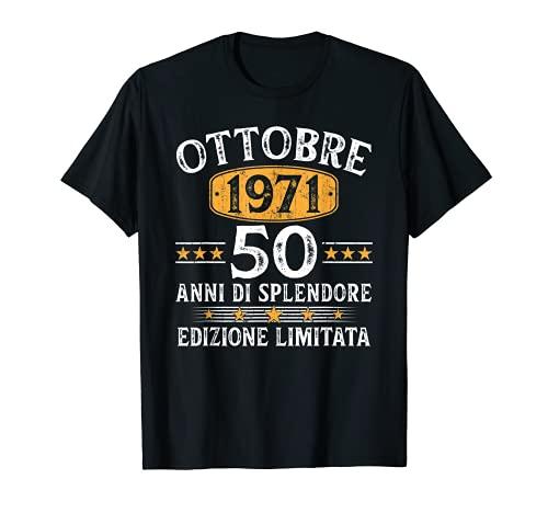 50 Anni Compleanno Uomo Donna Regalo Vintage Ottobre 1971 Maglietta