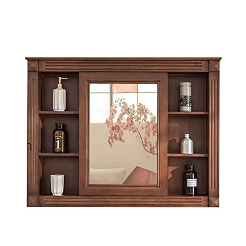 HMBB Mueble de Montaje de Pared Mueble de Madera Multifuncional Mueble de baño de Madera Maciza con Espejo, Mueble de Almacenamiento de Medicina de Cocina