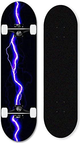 Kinder, Erwachsene Anfänger komplettes Skateboard, 31x8 Zoll Blitz-Skateboard, geeignet für professionelles Skateboarding für Jungen und Mädchen-Lila Blitz