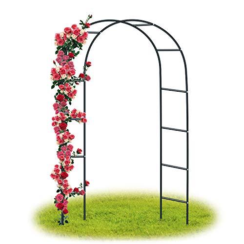 Forever Speed Arco de Rosas Trepadoras,Decoracion Jardin Arco de Metal para Plantas Trepadoras 240 x 140 x 38 CM/Negro
