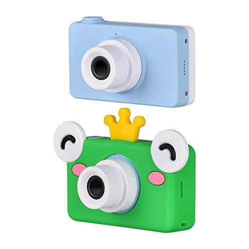 Funkprofi Videokamera für Kinder, Full HD 1080P Digital Kamera Kinder 8MP 2,0 Zoll Farbbildschirm Kinderkamera mit Cartoon Frosch Schutzhülle für Kindergeschenke - Blau