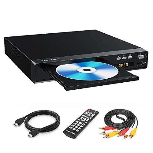 Sandoo DVD-Player, Regionenfreier DVD-Player für TV, Metallgehäuse, DVD-Player für TV mit HDMI, HD 1080P, HDMI/AV-Kabel im Lieferumfang enthalten, MP2208