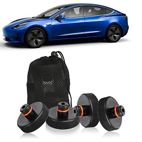 4 Stücke Wagenheber Gummiauflage für Tesla Model 3, Rangierwagenheber und Universal Gummiauflage für PKW SUV Robust und Praktisch Auto Tuning für die Schutz von den Wagenheber Kfz und LKW vor Kratzern